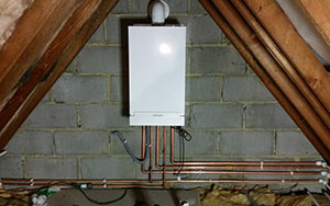 Gas Boiler installed in a loft